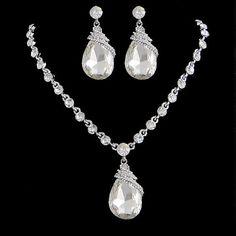 Vintage Swarovski Crystal Bridal Necklace Earrings Set, Clear Rhinestone Pendant Necklace Set, Wedding Dangle Earring Jewelry Set-112483356