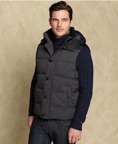 Tommy Hilfiger Vest, Mixed-Media Hooded Puffer Vest - Mens Coats & Jackets - Macy's