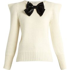 Saint Laurent Bow-embellished peak-shoulder sweater ($1,850) ❤ liked on Polyvore featuring tops, sweaters, ysl, cream multi, embellished sweaters, white mohair sweater, white embellished top, 80s tops and embellished tops