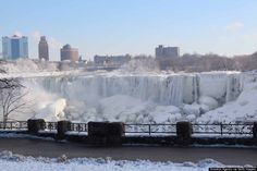 niagara falls not fully frozen this January, but closest it has been since 1936
