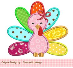 Thanksgiving Girly Turkey Applique -4x4 5x7 6x10Machine Embroidery Applique Design. $2.99, via Etsy.
