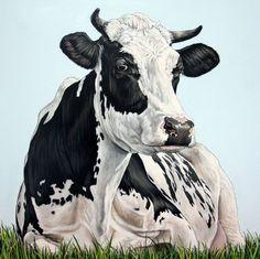 "Saatchi Art Artist Clara Bastian; Painting, ""Cow in the field"" #art"