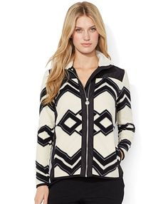 Lauren Ralph Lauren Geometric-Print Fleece Jacket