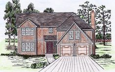 House Plan 58498 |  Plan with 2470 Sq. Ft., 5 Bedrooms, 3 Bathrooms, 2 Car Garage