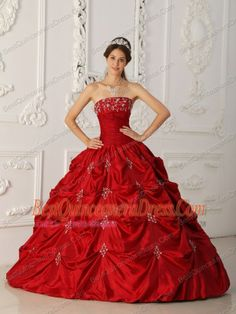 Red Ball Gowns | Home :: 2013 Quinceanera Dresses :: Wine Red Ball Gown Strapless Floor ...