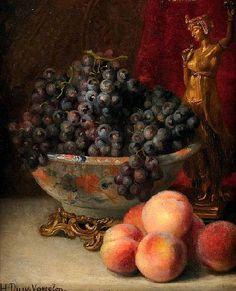 Hortense Dury-Vasselon Still Life with Peaches and Grapes 19th century