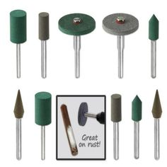 18pc Diamond-in-Rubber Emery Polishing Bit Set – Fits Dremel – Metal, Glass, Stone, Tile by Jeweler's Tools  18pc Diamond-in-Rubber Emery Polishing Bit Set - Fits Dremel - Metal, Glass, Stone, Tile by Jeweler's Tools Unique emery rubber compound embedded industrial diamond particles, extra-fine, fine, medium grit, Highly-effective at removing rust, corrosion, paint from metal and other hard material, 18 bits in a variety of sizes, 6, 12, 20mm, Less harsh than mounted stone or diamond..