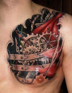 chest work   biomechanical tattoos   egodesigns