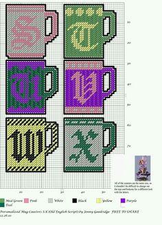 Coffee Cup Alphabet page 4 of 5 Plastic Canvas Letters, Plastic Canvas Coasters, Plastic Canvas Crafts, Letter Patterns, Canvas Patterns, Cross Stitch Alphabet, Cross Stitch Patterns, Alphabet Charts, Old English Alphabet