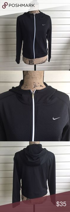 Nike Black Sphere Dry Hooded Jacket Nike Black Sphere Dry Hooded Jacket. Side pockets. Full zip up. Size small. 94% polyester. In excellent condition. I'm a speedy shipper and we have a smoke free home! Measurements upon request. I'm always open to reasonable offers. Nike Tops Sweatshirts & Hoodies