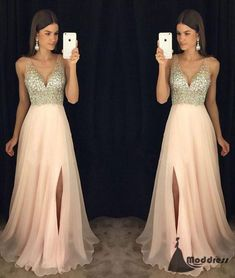 Pink V-Neck Long Prom Dress Sequins Chiffon Formal Evening Dress with High Slit,HS440 #fashion#promdress#eveningdress#promgowns#cocktaildress