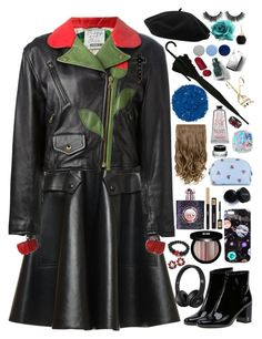 """Black Cold Rain"" by artemishunters ❤ liked on Polyvore featuring Rochas, Moschino, Yves Saint Laurent, Nikki Strange, Goorin, Edward Bess, Burberry, Illamasqua, Miu Miu and Bobbi Brown Cosmetics"