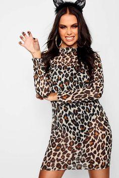 abb61fae9cc Halloween Leopard Mesh Bodysuit Midi Dress - boohoo