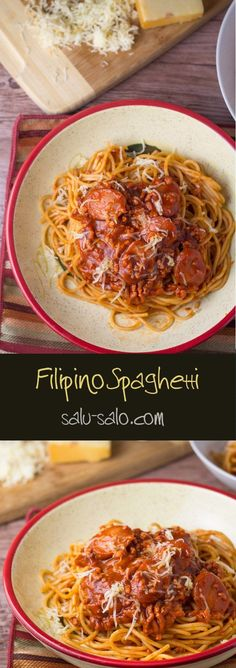 Filipino Spaghetti - Salu Salo Recipes : Filipino Spaghetti - Salu Salo Recipes Filipino spaghetti is different from the typical spaghetti because it has fried sliced hot dogs. Ground pork is mixed in with tomato sauce and banana sauce. Filipino Desserts, Filipino Recipes, Asian Recipes, Ethnic Recipes, Filipino Pasta Recipe, Filipino Food Party, Pinoy Food Filipino Dishes, Filipino Bbq, Pinoy Recipe