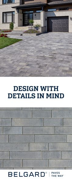 Outdoor Design Tips Contemporary pavers like Belgard's Melville Plank paver can be used to add accen Belgard Pavers, Concrete Driveways, Outdoor Patio Designs, Patio Ideas, Backyard Ideas, Outdoor Spaces, Outdoor Living, Grey Pavers, Paver Patterns