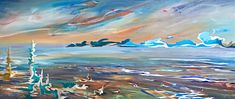 Awakening, mixed media landscape painting with stainless steel by Joel Masewich   Effusion Art Gallery + Cast Glass Studio, Invermere BC Night Sky Painting, Sunrise Painting, Lake Painting, Star Painting, Tree Paintings, Nature Paintings, Landscape Paintings, Headboard Art, Cast Glass