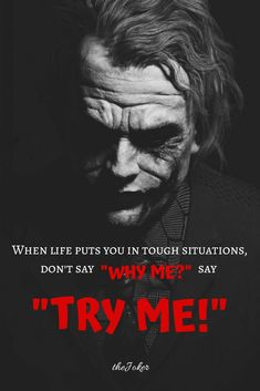 23 Joker quotes that will make you love him more Knew a lady with cancer once. She said why not me? Joker Qoutes, Best Joker Quotes, Badass Quotes, Wisdom Quotes, True Quotes, Motivational Quotes, Inspirational Quotes, Reality Quotes, Mood Quotes