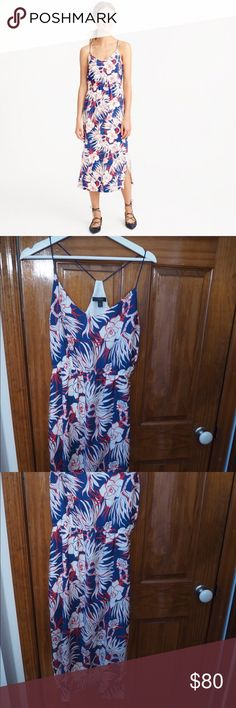 JCREW Carrie dress in retro floral Floral print summer 2016 jcrew dress, worn once and dry cleaned after, dry clean only. Like new! J. Crew Dresses Midi