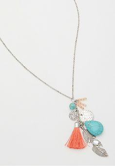 cluster necklace with metal feather and rhinestones (original price, $16) available at #Maurices