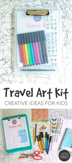 A Travel Art Kit to Keep the Kids Engaged & Creative on a Trip How to make a travel art kit for kids by combining creative activities and printables with basic art materials. Great for a plane or road trip!