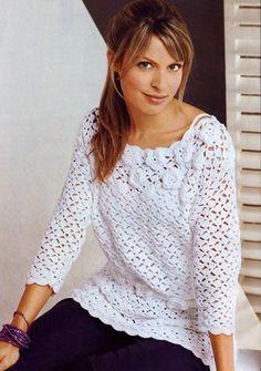 Белый пуловер с цветами. Модели для женщин, связанные крючком