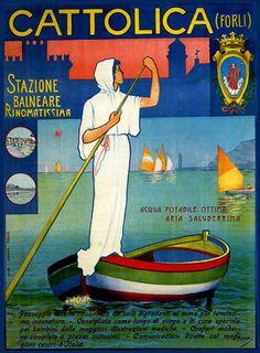 """Cattolica, Riviera Adriatica (Italy) """"Stazione Balneare Rinomatissima"""" Sail Boat Cattolica Vintage Travel Poster ca. 1900"""