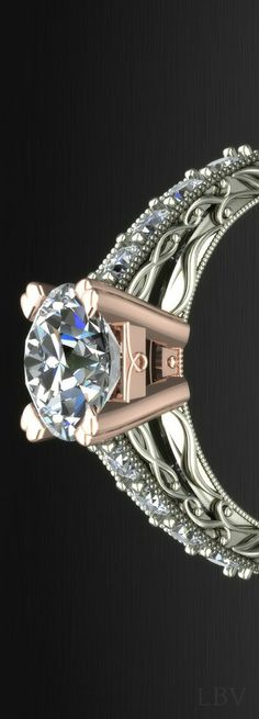 Luxury: Custom-designed platinum and diamond engagement ring  | LBV ♥✤