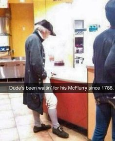 McDonald's McFlurry from 1786 ~ funny snapchat humor