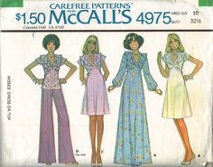 ©1976 MISSES' DRESS OR TOP: Back zippered dress or top has bands, ruffle, tie belt included in side seams and lace trim. A has long sleeves with elastic in wrist casings. B, C, D has flared sleeves. 8 pattern pieces.