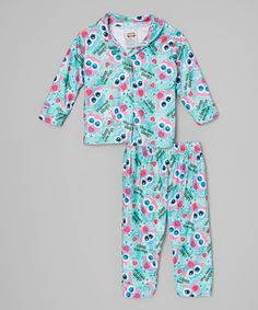 Look what I found on #zulily! Blue Owl Button-Up Pajama Set - Infant & Toddler #zulilyfinds