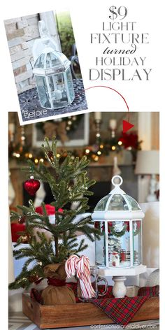 Christmas Cloche from Light fixture Christmas Chair, Winter Christmas, Christmas Holidays, Christmas Ideas, Christmas Scenes, Holiday Ideas, Christmas Houses, Holiday Dinner, Unique Christmas Decorations