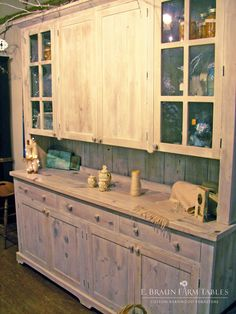 This custom hutch would coordinate well with any country, farmhouse, rustic, primitive or shabby chic decor. handcrafted of reclaimed barn wood in Lancaster County, PA, heart of Amish Country. Showroom located in Intercourse, PA. Custom orders are welcome. braunfarmtables.houzz.com, www.braunfarmtables.com, www.facebook.com/braun.farmtables © 2015 E. Braun Farm Tables and Furniture, Inc.™