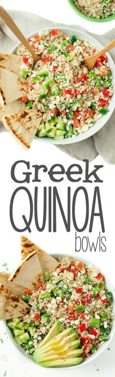Quinoa Bowls - Healthy Vegetarian Grain Bowls - Peas and Crayons Loaded with fresh veggies and drizzled in a light homemade dressing, these tasty vegetarian Greek Quinoa Bowls make healthy eating a breeze! Greek Recipes, Whole Food Recipes, Recipes Dinner, Dessert Recipes, Clean Eating Recipes, Cooking Recipes, Sausage Recipes, Crockpot Recipes, Cooking Dishes