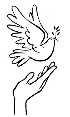 dove im your hand Bird Drawings, Pencil Art Drawings, Drawing Sketches, Faith Crafts, Bible Crafts, Coloring Books, Coloring Pages, Peace Pole, Bird Template