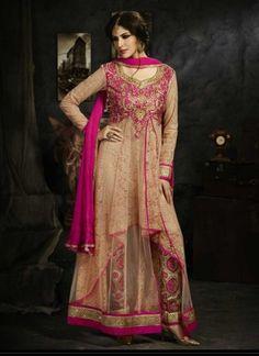 Glowing Cream And Magenta Net Jacquard Embroidery Work  Pakistani Suit http://www.angelnx.com/Salwar-Kameez/Pakistani-Suits
