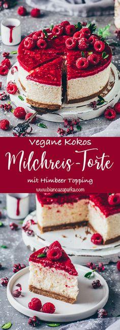 Diese vegane Kokos-Milchreis-Torte ist vegan, gesund, lecker und super einfach zuzubereiten - Ein tolles Kuchen-Rezept mit Hafer-Keksboden und Himbeeren, das perfekt als Nachtisch oder auch zum Frühstück ist! #milchreis #kokos #veganerezepte #kuchen #rezepte #essen #vegan #torte #reis #gesunderezepte #lecker #frühstück #dessert #backen #veganbacken #himbeeren #beeren #obst #gesund | biancazapatka.com