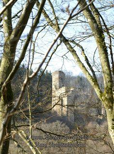 Lange Jahre lag sie versteckt im Eifel-Wald bei Üxheim: Burg Neublankenheim zu erreichen über den Kalkeifel-Radweg, auf dem wir zwar zu Fuß unterwegs waren