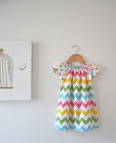 Baby Girl Easter DressChevron Stripes and by ChasingMini on Etsy, $42.00