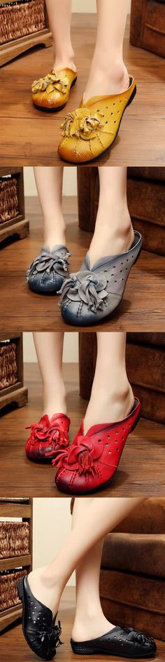 US$39.70  SOCOFY Flower Tassel Leather Hollow Out Breathable Open Heel Shoes