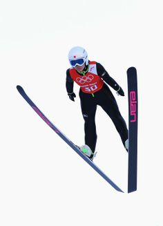 SOCHI, RUSSIA - FEBRUARY 08: Sara Takanashi of Japan jumps during the Ladies' Normal Hill Individual Ski Jumping training on day 1 of the Sochi 2014 Winter Olympics at the RusSki Gorki Ski Jumping Center on February 8, 2014 in Sochi, Russia. (Photo by Lars Baron/Getty Images)