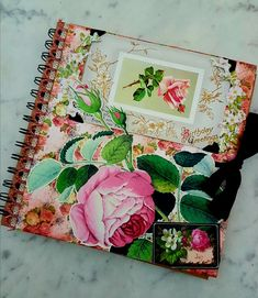 Front cover of vintage roses and an original 19th century birthday card for a Garden Journal