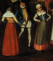 "The ""Wedding at Bermondsey"" 1569 by Joris Hofnagel (1542 – 1601). For 1578 ""most women should wear a smock with a high collar and ruffles (low status) ... Over this is worn a long skirt pleated to a waistband, with a contrast coloured bodice over the top. The bodice is front laced, with a point at centre front... An apron is worn over the two."" The Tudor Costume Page."