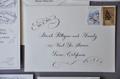 Left Handed Calligrapher could make amazing looking hand-addressed Christmas Cards