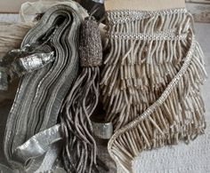 Lovely collection of Art Deco French silver metallic braids and tassel by BrocanteArt on etsy