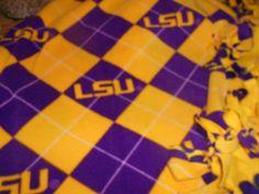 LSU Fleece Throw, Geaux Tigers Blanket Fleece, by tobeesgifts, $36.95 www.etsy.com/shop/tobeesgifts