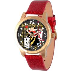 Disney Womens Alice In Wonderland Red And Gold Tone Red Queen Strap... ($40) ❤ liked on Polyvore featuring jewelry, watches, disney watches, buckle watches, red watches, leather jewelry and leather watches