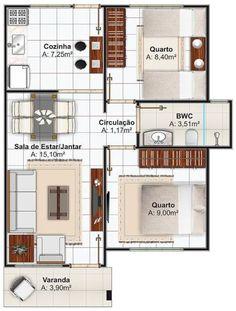 Plano casa pequeña de dos dormitorios