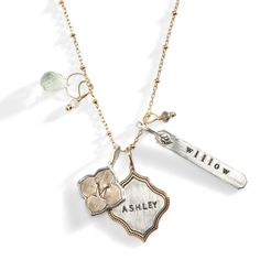 The perfect necklace to represent your family - the Avalon Personalized Charm Necklace holds a charm for each important member of your family.  The inserts of these charms are time-worn to give an aged look of romance.