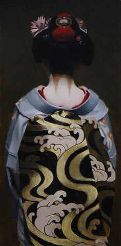 """La frange écarlate (Taka) - peinture à l'huile sur 10 """"x 20"""" toile de lin - art japonais geisha"""