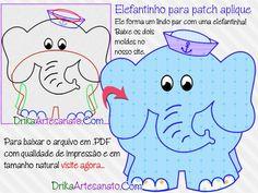 Baixe um lindo molde com de casal de elefantes que pode ser feito em patch aplique, feltro ou EVA!